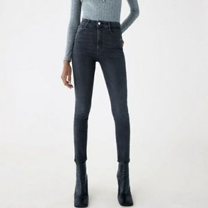 Zara Faded Black High Rise Skinny Jeans